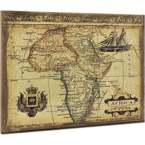 Quadro murale su tela incorniciato 60x80cm mappa Africa