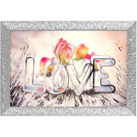 Quadro Scritta Love In Argento E Legno, Da 69x53,8 Cm Multicolore