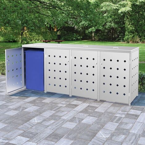Quadruple Wheelie Bin Shed 240 L Stainless Steel