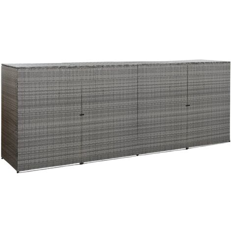 Quadruple Wheelie Bin Shed Anthracite 305x78x120 cm Poly Rattan - Anthracite