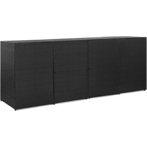 Quadruple Wheelie Bin Shed Black 305x78x120 cm Poly Rattan - Black