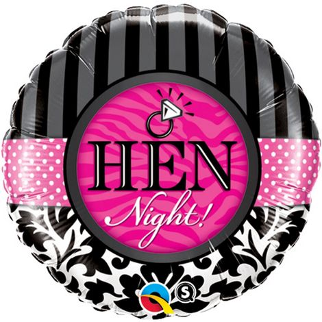 Qualatex 18 Inch Hen Party Stripe & Damask Pattern Circular Foil Balloon (One Size) (Black/White/Fuchsia)