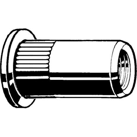 "main image of ""Rivet Nut, Metric - Steel - BZP (Bright Zinc Plated) - Blind Countersunk Rivet Nut - Open Serrated Shank"""