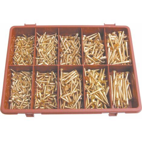 Qualfast Slotted C/sunk Woodscrew Kit Brass
