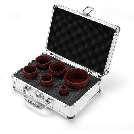 Qualité Professionnelle Foret Diamant Cylindrique 6 pièces pour carrelage ou perçage Rouge (Ø 20-68 mm) M14 pour meuleuse d'angle en granite, grès cérame, foret carrelage