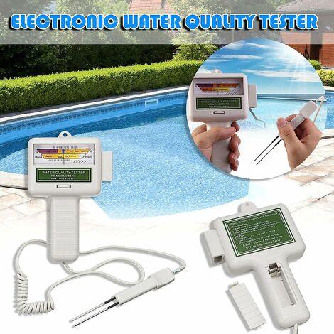 Qualité Eau Testeur, Portable Numérique Moniteur,Portable 2 en 1 qualité de l'eau PH CL2 testeur de Niveau de Chlore Niveau mètre, Ph Eau Testeur Analyse Chlore Piscine Kit Test