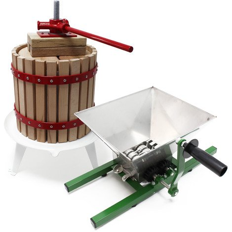 Quality 12L Fruit Press incl pulp bag and 7l Fruit mill with crank handle