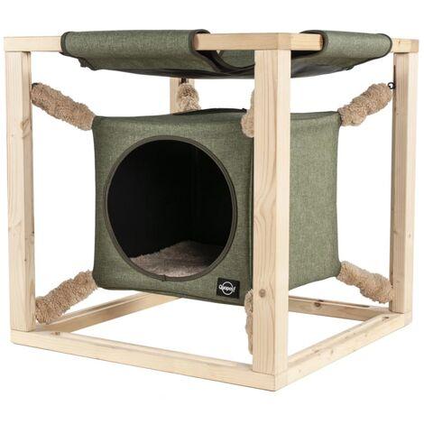 Quapas! Cat Bed with Hammock Catcube Green L 62.5x62.5x62.5 cm - Green