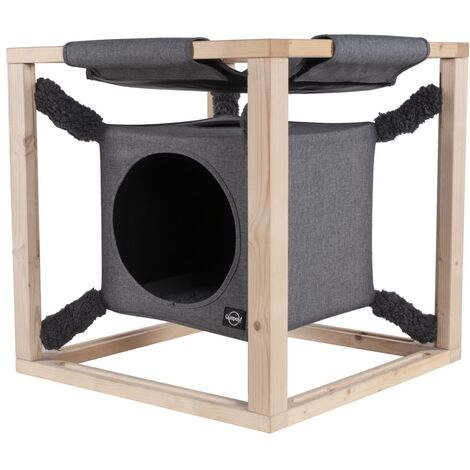 Quapas! Cat Bed with Hammock Catcube Grey M 54x54x54 cm