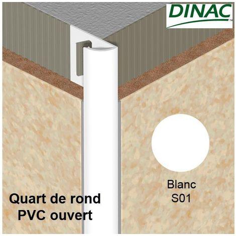 Quart de rond ouvert PVC blanc 8 mm-Dinac