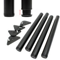 Quattro piedi di tavolo in acciaio inox, neri, regolabile Ø 60mm 820mm