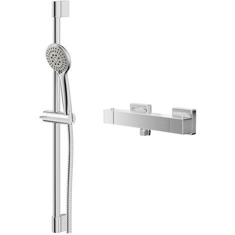 Quattro Thermostatic Bar Valve Mixer Shower With Avon Slide Rail Kit