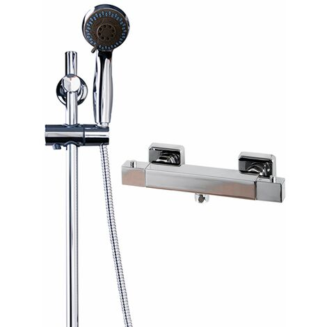 Quattro Thermostatic Bar Valve Mixer Shower With Clyde Slide Rail Kit