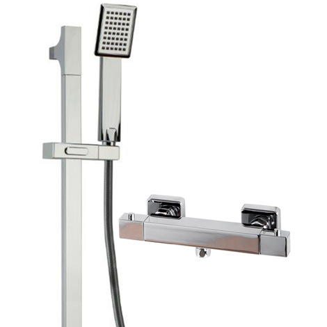 Quattro Thermostatic Bar Valve Mixer Shower With Severn Slide Rail Kit