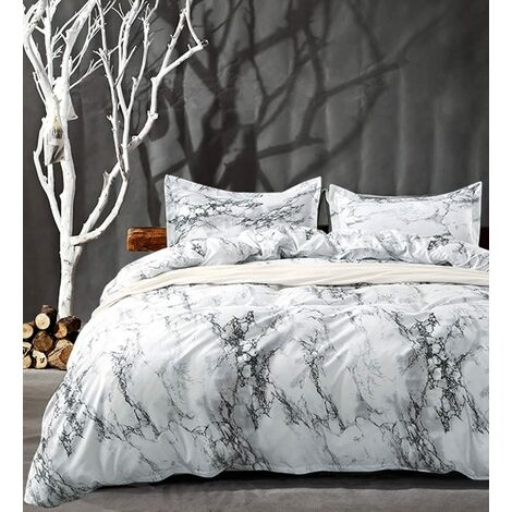 """main image of """"Queen Bedding White Marble 3 Piece Duvet Cover Set 1000 TC Luxury Hypoallergenic Microfiber Down Duvet Cover with Zipper Links Best Modern Organic Style for Men and Women"""""""