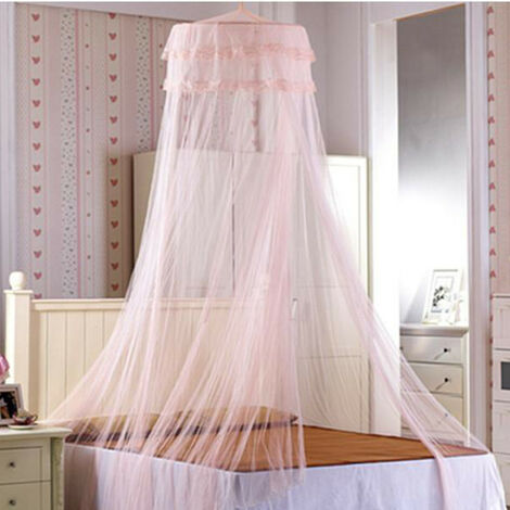 Queen size cotton round dome princess bedding hanging mosquito net awning girl kids bedroom (jade)