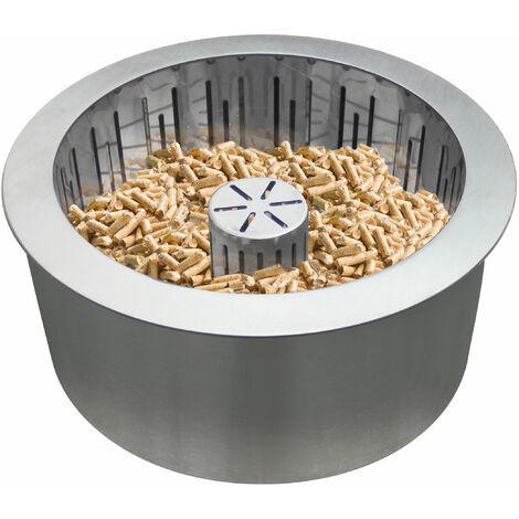 Quemador de pellet en acero inoxidable de doble capa con cesta recoge cenizas PB25