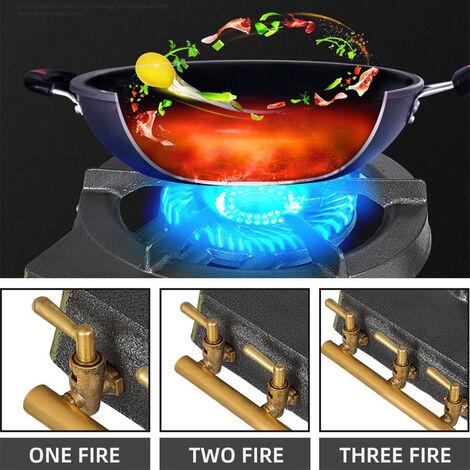 Quemador hierro colado con 3 grifos,Cocina de gas, estufa de camping, horno, barbacoa