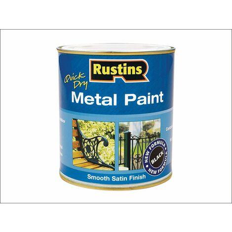 "main image of ""Quick Dry Metal Paint Smooth Satin Black 250ml RUSMPSSBL250"""