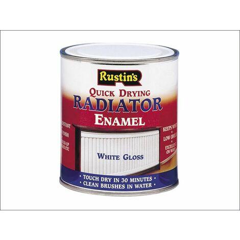 Quick Dry Radiator Enamel Paint Gloss White 500ml RUSQDREG500