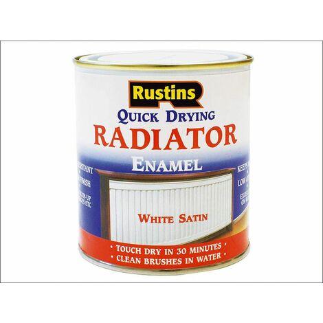 Quick Dry Radiator Enamel Paint Satin White 250ml RUSQDRES250 ZZ