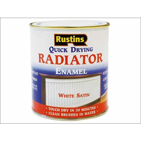 Quick Dry Radiator Enamel Paint Satin White 500ml RUSQDRES500