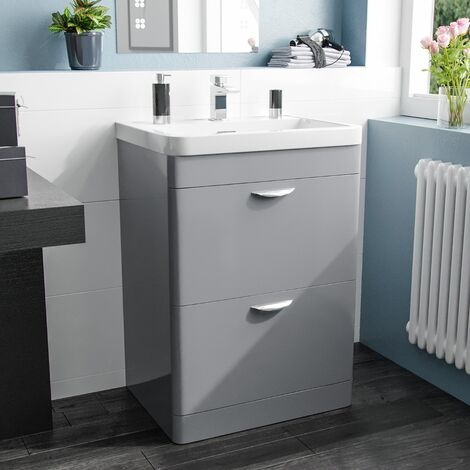 Quickely 600mm 2 Drawer Light Grey Freestanding Vanity Cabinet With Basin Sink