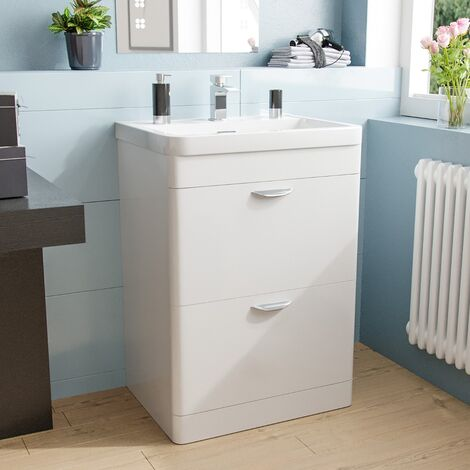 Quickely 600mm 2 Drawer White Freestanding Vanity Cabinet With Basin Sink