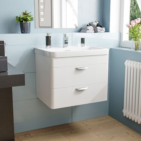 """main image of """"Quickely 600mm 2 Drawer White Wall Hung Vanity Cabinet With Basin Sink"""""""