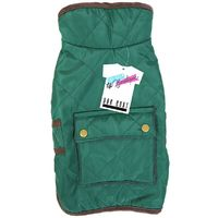 QUILTED DOG COAT WITH POCKET GREEN 45-50 CM