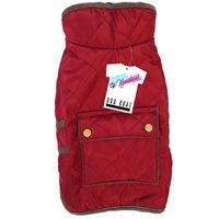 QUILTED DOG COAT WITH POCKET RED 25-30 CM
