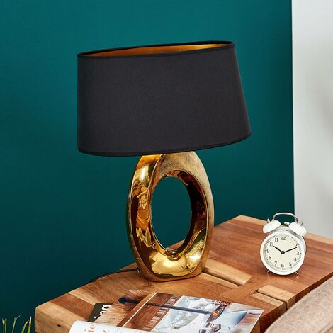 Quina table lamp with textile shade, gold/black
