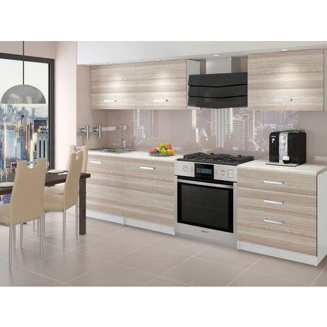 QUINCY   Cuisine Complète Modulaire Linéaire L 180cm 6 pcs   Plan de travail INCLUS   Ensemble de meubles de cuisine   Acacia