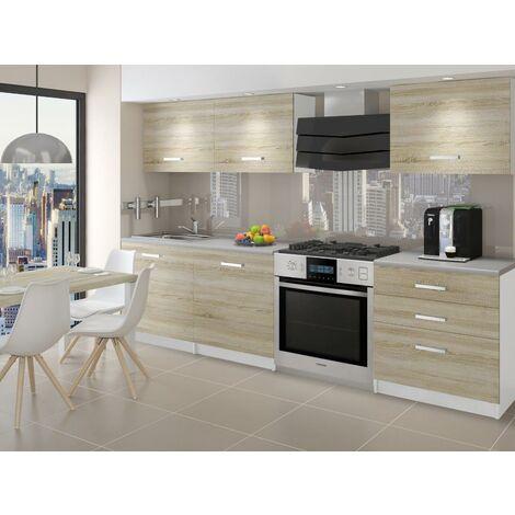 QUINCY | Cuisine Complète Modulaire Linéaire L 180cm 6 pcs | Plan de travail INCLUS | Ensemble meubles de cuisine modernes - Sonoma