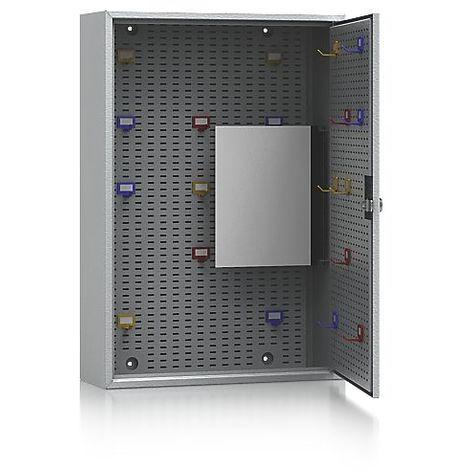 QUIPO Armoire à clés - gris clair RAL 7035 - h x l x p 550 x 380 x 130 mm, pour 90 crochets - Coloris: Gris clair RAL 7035
