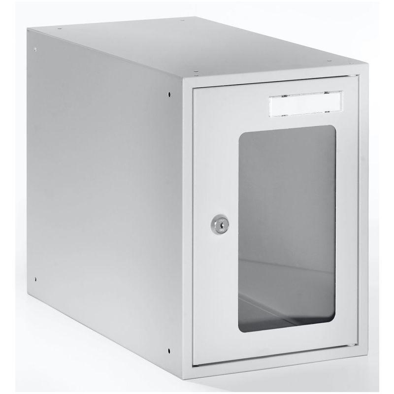 Casiers verrouillables vitrés - h x l x p 350 x 250 x 450 mm - cadre de porte gris clair RAL 7035 - Coloris des portes: Gris clair - Quipo