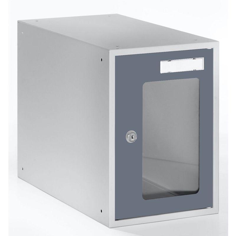 Casiers verrouillables vitrés - h x l x p 350 x 250 x 450 mm - cadre de porte gris basalte RAL 7012 - Coloris des portes: Gris basalte RAL 7012