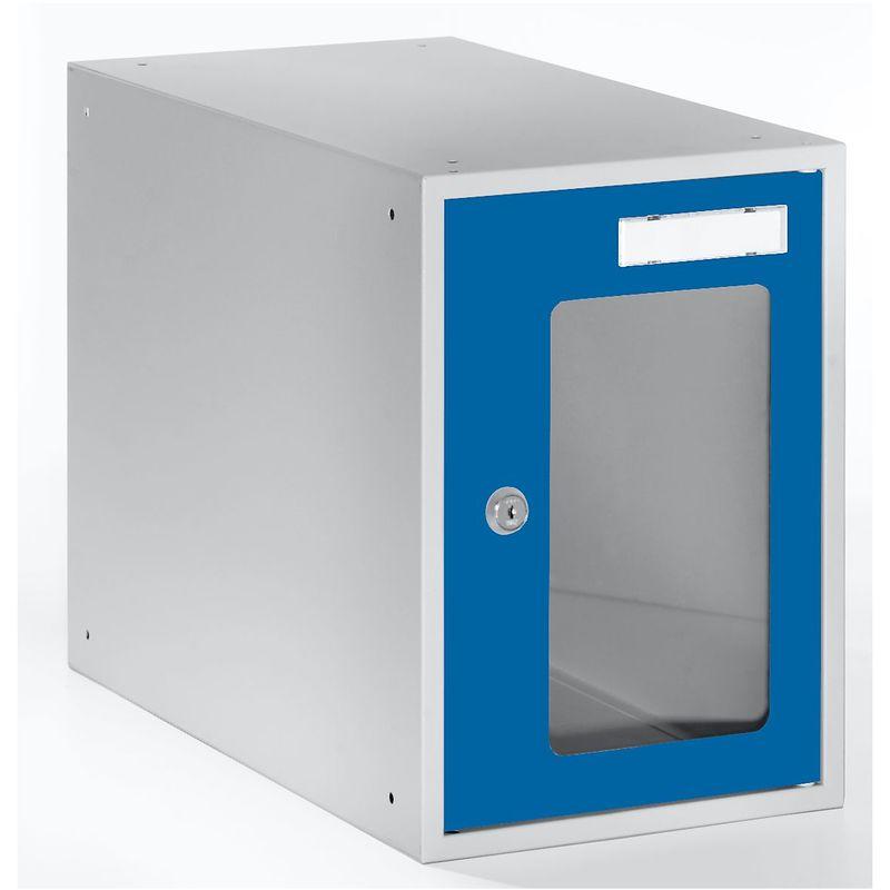 QUIPO Casiers verrouillables vitrés - h x l x p 350 x 250 x 450 mm - cadre de porte bleu gentiane RAL 5010 - Coloris des portes: Bleu gentiane RAL