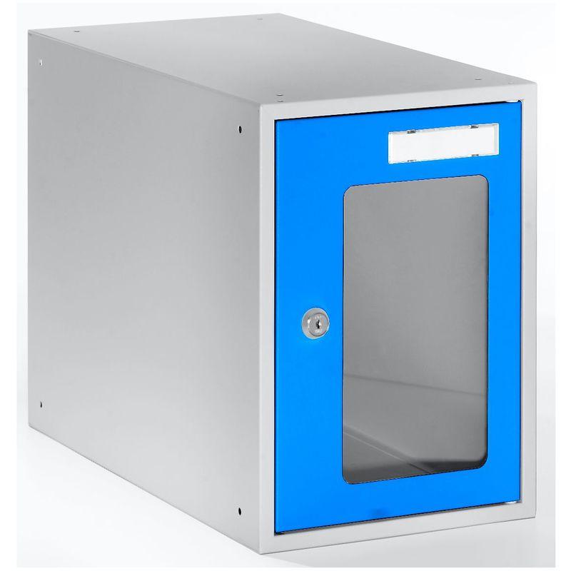 Casiers verrouillables vitrés - h x l x p 350 x 250 x 450 mm - cadre de porte bleu clair RAL 5012 - Coloris des portes: Bleu clair RAL 5012 - Quipo