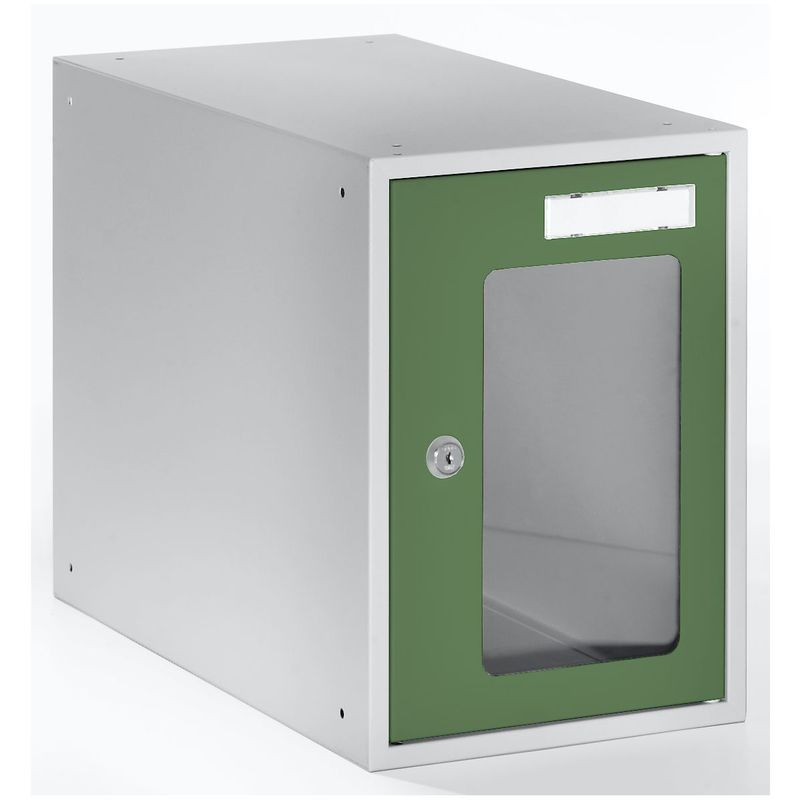 Casiers verrouillables vitrés - h x l x p 350 x 250 x 450 mm - cadre de porte vert réséda RAL 6011 - Coloris des portes: vert réséda RAL 6011 - Quipo