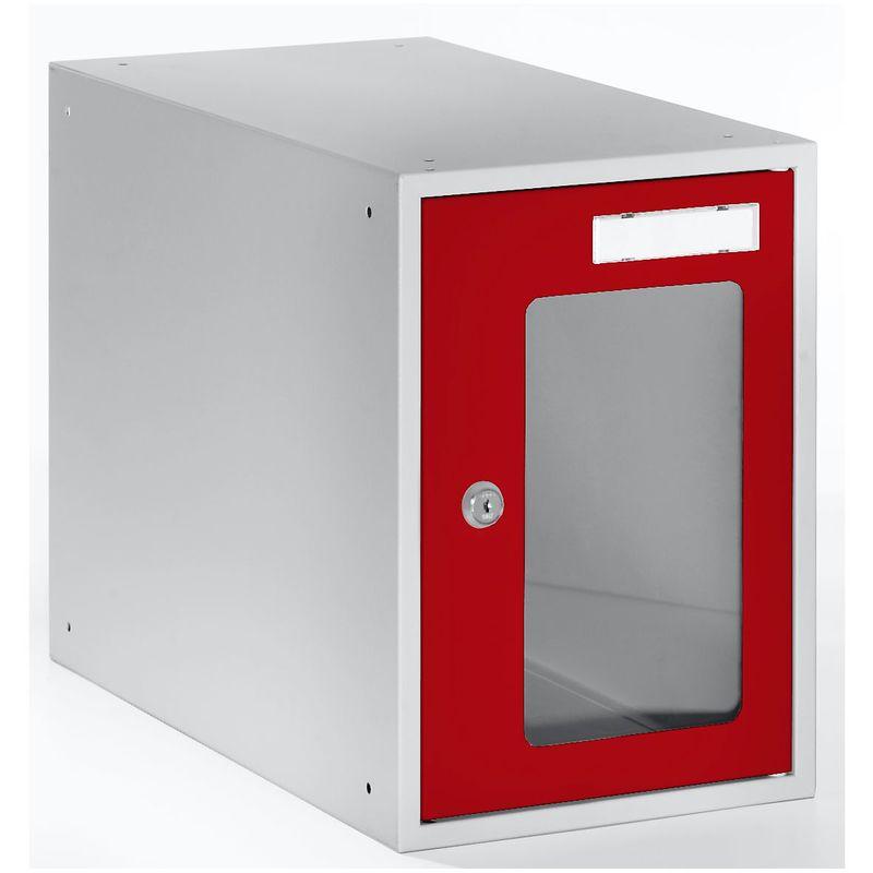 Casiers verrouillables vitrés - h x l x p 350 x 250 x 450 mm - cadre de porte rouge feu RAL 3000 - Coloris des portes: rouge feu RAL 3000 - Quipo