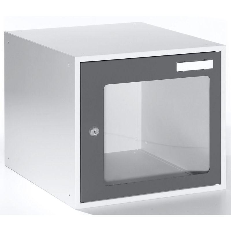 Casiers verrouillables vitrés - h x l x p 350 x 400 x 450 mm - cadre de porte gris basalte RAL 7012 - Coloris des portes: Gris basalte RAL 7012