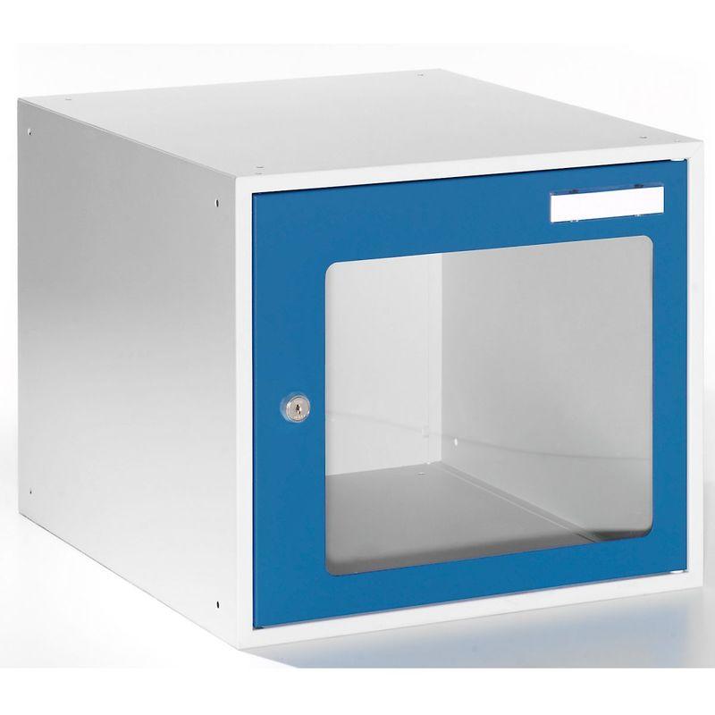 Casiers verrouillables vitrés - h x l x p 350 x 400 x 450 mm - cadre de porte bleu gentiane RAL 5010 - Coloris des portes: Bleu gentiane RAL 5010