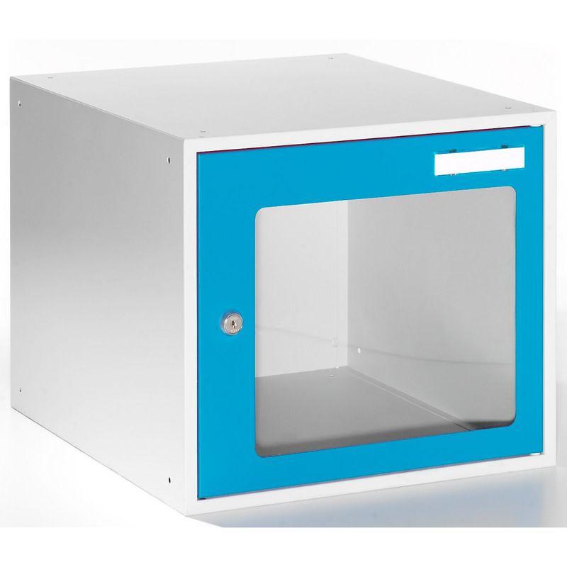 Casiers verrouillables vitrés - h x l x p 350 x 400 x 450 mm - cadre de porte bleu clair RAL 5012 - Coloris des portes: Bleu clair RAL 5012 - Quipo