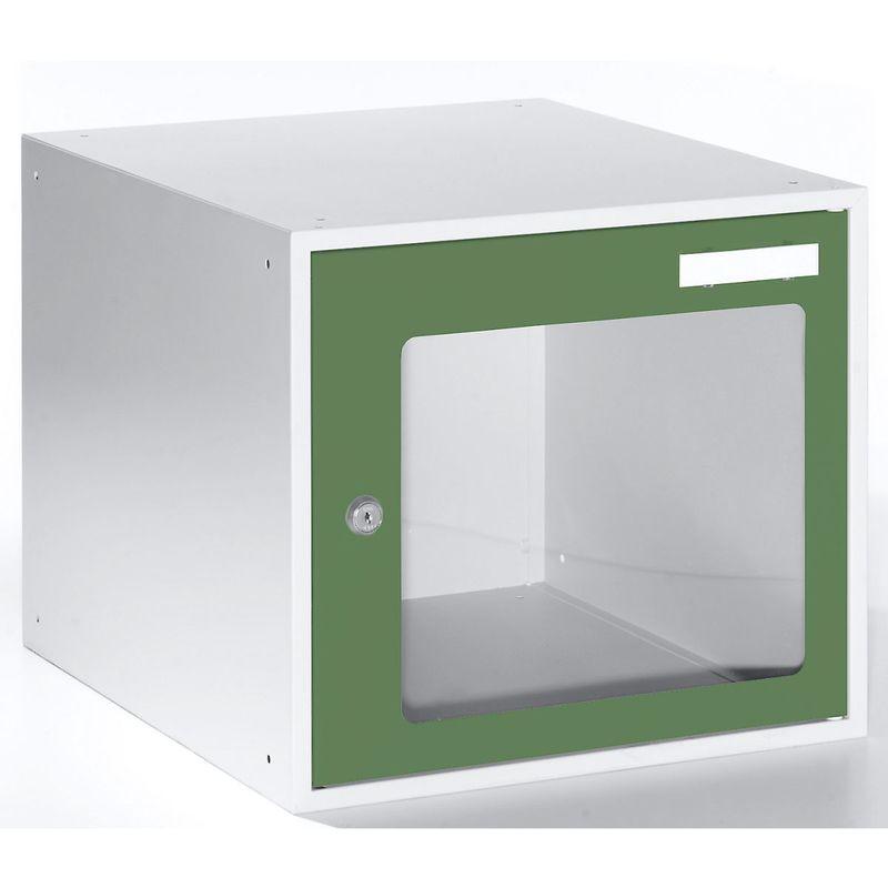 Casiers verrouillables vitrés - h x l x p 350 x 400 x 450 mm - cadre de porte vert réséda RAL 6011 - Coloris des portes: vert réséda RAL 6011 - Quipo