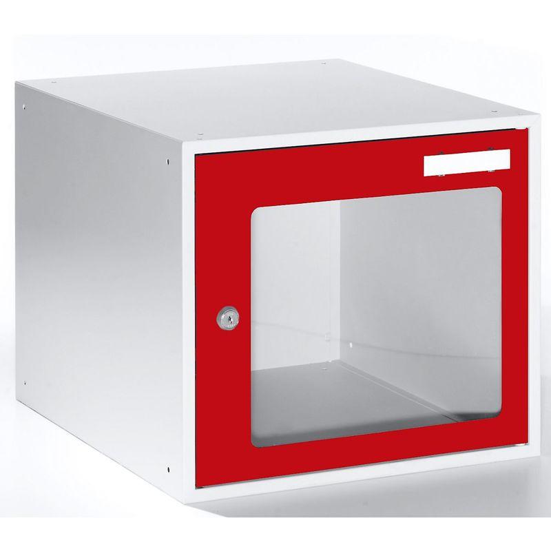 Casiers verrouillables vitrés - h x l x p 350 x 400 x 450 mm - cadre de porte rouge feu RAL 3000 - Coloris des portes: rouge feu RAL 3000 - Quipo
