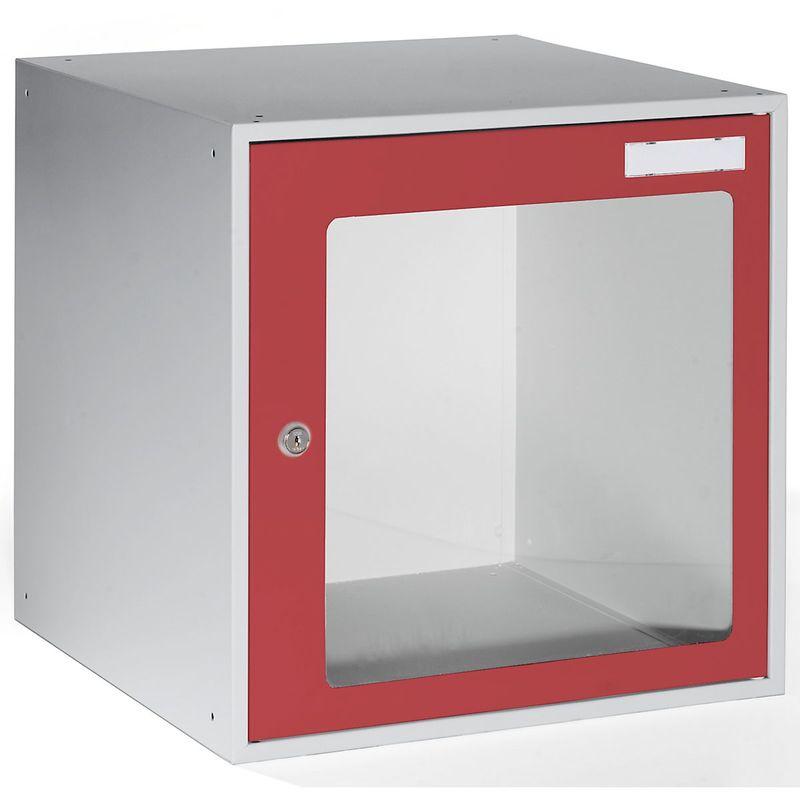 Certeo - QUIPO Casiers verrouillables vitrés - h x l x p 450 x 450 x 450 mm - cadre de porte rouge feu RAL 3000 - Coloris des portes: rouge feu RAL
