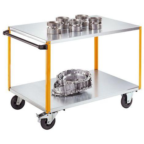 QUIPO Chariot de montage - avec barre de poussée encliquetable, force 350 kg - L x l x h 1340 x 810 x 900 mm - Coloris: Jaune melon RAL 1028