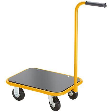 QUIPO Chariot-diable - avec barre de poussée vissée - force 200 kg - Coloris piétement: jaune melon RAL 1028