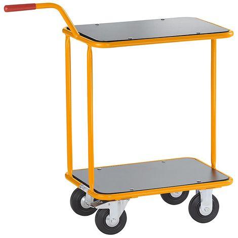QUIPO Chariot-diable professionnel - avec deux plateaux - force 100 kg - Coloris piétement: jaune melon RAL 1028
